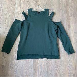SANCTUARY Teal Cut Out Shoulder Sweatshirt (M)